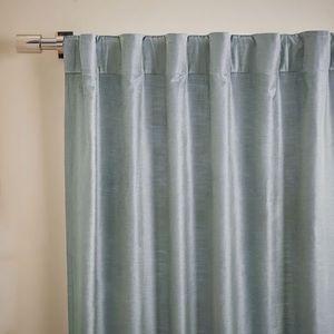 (2) West Elm Luster Velvet Curtains - Dusty Blue